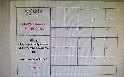 Personalised raffle card scratch number pubs avon bodyshop ann summers x4