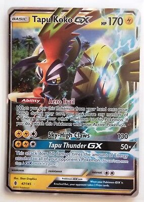 POKEMON TCG Tapu Koko GX 47/145 Guardians Rising Holo Rare – MINT – Card Carta