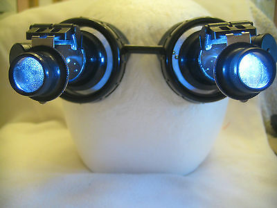 Pro Steampunk Safety Goggles Forged Steel Epic Cosplay SCI-FI Glasses 10X2 LED