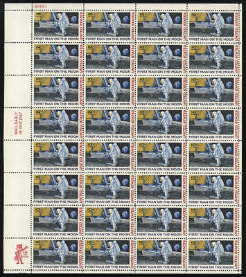 US #C76 10¢ First Man on the Moon Airmail Sheet of 32 VF NH MNH