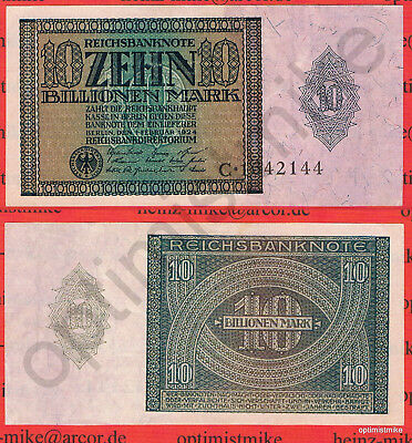 10 Billionen Mark AU Ros.134 Pick 137 Germany Inflation Deutschland 1924 Rarr