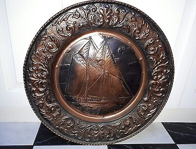 Fabulous Vintage Copper Embossed Ship Wall Art 59Cm Across.   Now Reduced