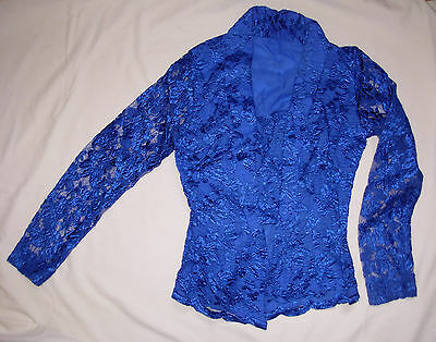 New Laced Malay Malaysian Traditional Blouse Womens Size XS Tailor Made Blue