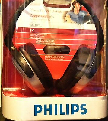 New Philips SHP2500 Stereo TV  Headband Headphones w/control - Silver/Black