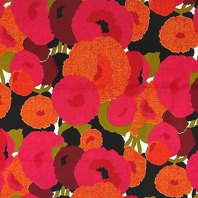 "ROOMAKER Vintage Fabric Decorator Cotton Orange Pink Floral 47"" W x 48"" L Retro"