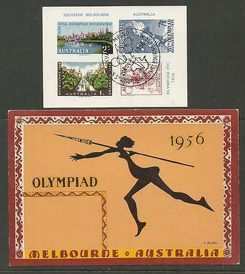 1956 Olympic Games Melbourne souvenir sheetlet with printed postmark & postcard