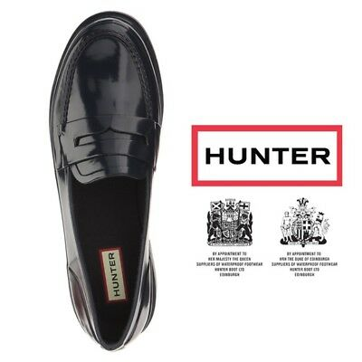 Hunter, Original Penny Loafers WELLIES Women,BLUE & BLACK COLOUR