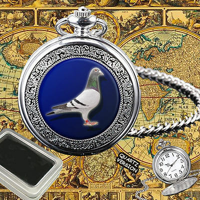 Pigeon Racing, Dove, Taube, Paloma Bird Quartz Pocket Watch Gift