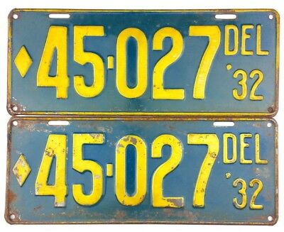 NOS UNISSUED 1932 Delaware License Plate PAIR #45-027