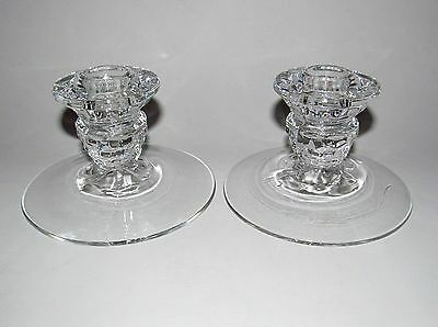 """Fostoria American 2 Low Candle Holders 3.25"""" Candlestick Pair Crystal 2056 Glass"""