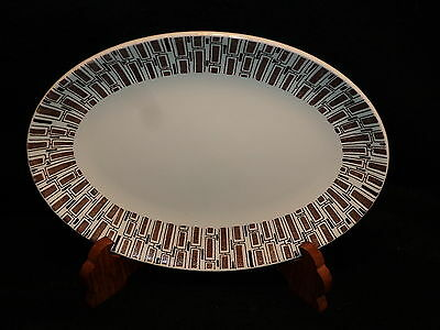 "Ridgway Ironstone England Brown & White ESPRESSO 12"" OVAL SERVING PLATTER"