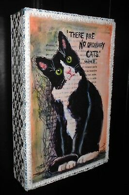 Tuxedo Cat Kitten French Script Decorative  Shelf Sitter Decor