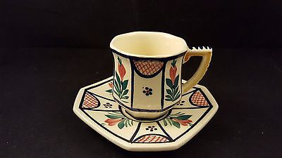 HB Quimper Octagon Demitase Cup and Saucer  F 303