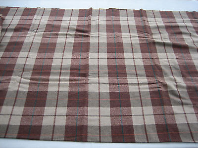 "BTY NOS Vintage Wool Blend Light Weight Fabric Brown, Tan, Teal Plaid - 58""W"