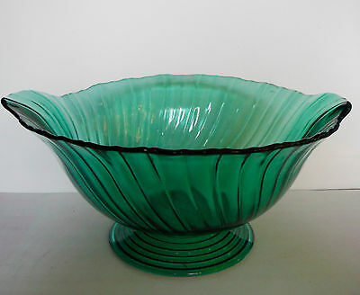 JEANNETTE GLASS / Footed Bowl Ultra Marine SWIRL (1937-1938)