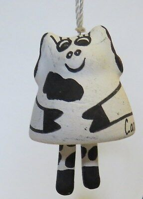 Cancun Ceramic Hand Painted Cow Ornament Bell