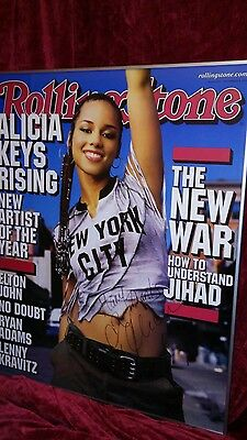 Autographed Large Framed Alicia Keys Rolling Stone Cover Poster