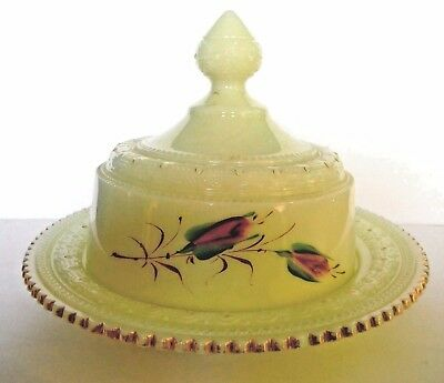 HEISEY GLASS / RING BAND Opaque Custard Butter Dish / 1898