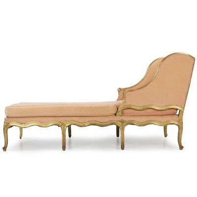 Fine 19th Century Louis XV Style Carved Giltwood Recamier Chaise Longue Sofa