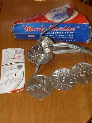 Vtg Mouli Julienne Food Grater Slicer Shredder - 4 Discs Food - Made in France
