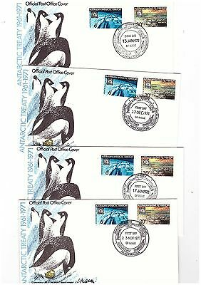 Australia Antarctic Territory 1971/72 Treaty on Covers, ALL BASE CANCELS    (4)