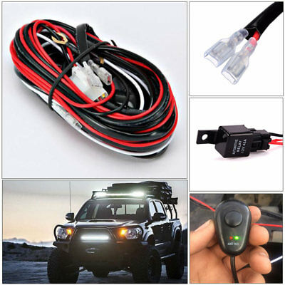 For 2 Work Fog LED Light 12V 40A Bar Wiring Harness Relay Kit ON/OFF Switch 300w