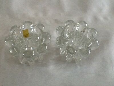 A Pair Of French Reims glass candle stick holders