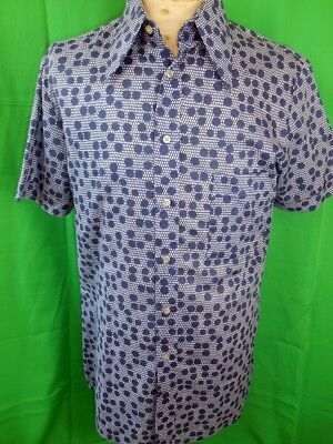 Vintage 70s Camajo Italian Blue & White Poly/Cotton Short Sleeve Casual Shirt M