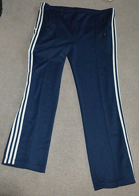 True Vtg adidas Track Warm Up Pants 1980s Navy Blue