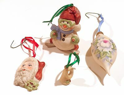 Vintage 90s Hand-Painted Porcelain Christmas Ornaments