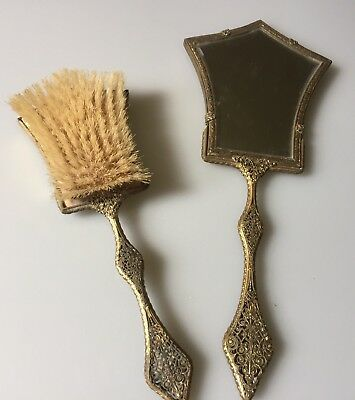 Vtg Dressing Table Set - 2 Piece Brush And Mirror In Gold/brass Pressed Metal