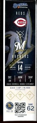 Baseball Ticket Milwaukee Brewers 2016 8/14 Cincinnati Reds