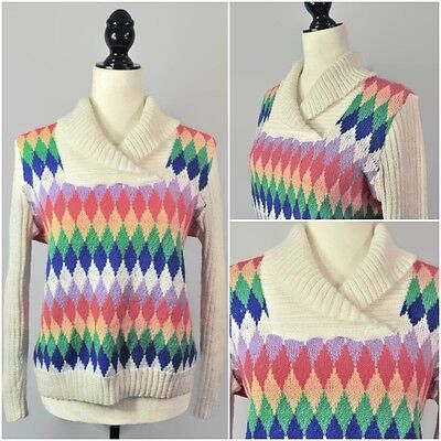 VTG 70s Rainbow Knit Pullover Sweater Long Sleeve Top Novelty Hipster Unisex