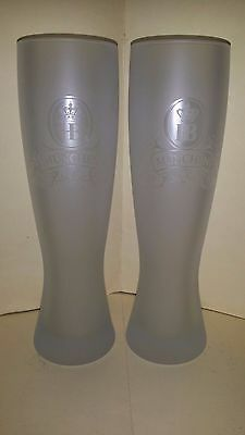 2 Collectable Tall HB Munchen Frosted 500ml Beer Glasses
