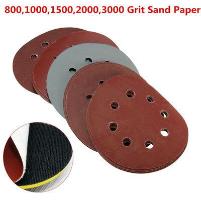 "25X 5"" 124mm 800 1000 1500 2000 3000 Mix Grit Sanding Discs Paper Hook Loop Tool"