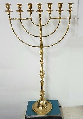 "Authentic brass copper 36"" XXL Menorah vintage candle holder Judaica Israel"
