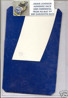 "Jimmie Johnson authentic race used sheet-metal SIZE: 5.5""X3.5"" 2009 Darlington"