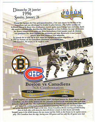 1995-96 Montreal Canadiens LINE-UP CARD NHL HOCKEY vs BRUINS  LIMITED EDITION