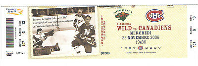 2006-07 MONTREAL CANADIENS NHL HOCKEY TICKET vs WILD LEMAIRE TED HARRIS 30/100