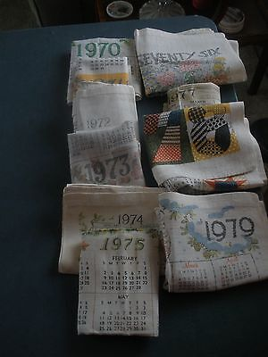 Vintage 1970-1979 Linen Cloth Calendar Wall Hangings  All 10 years