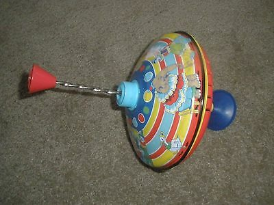 "Schylling Silly Circus Tin Top Press and spin  6 1/2"" dia"