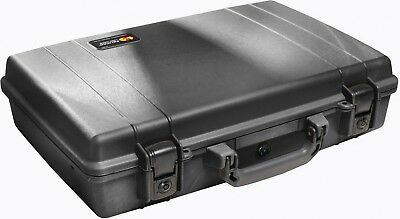 New Black Pelican ™ 1490 Attache Style Small Computer case with foam+ nameplate