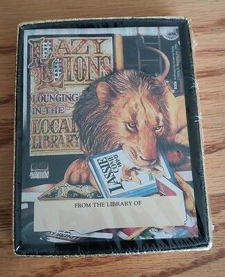 Vintage 'From the Library of' Antioch Bookplates,30 Self Stick, Lazy Lions, B304