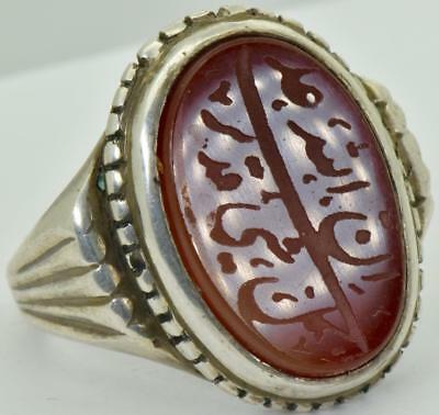 MUSEUM antique 19th Century Ottoman Pasha's silver&carved Cornelian seal ring