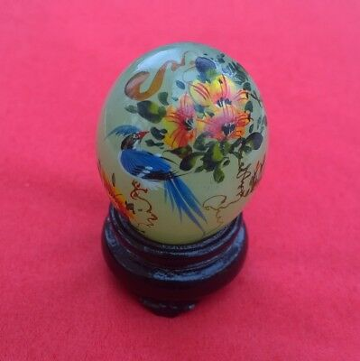 Vintage Asian Hand Painted Jade Egg Signed with Stand - Chinese Flora and Fauna