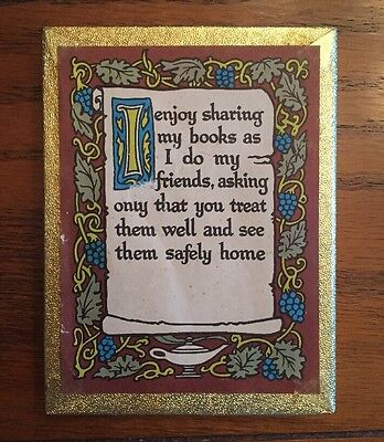 Box of 40 vintage Antioch BOOKPLATES with colorful I ENJOY SHARING MY BOOKS