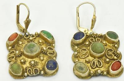 MUSEUM antique 18th Century Ottoman gold plated silver earrings.UNIQUE!