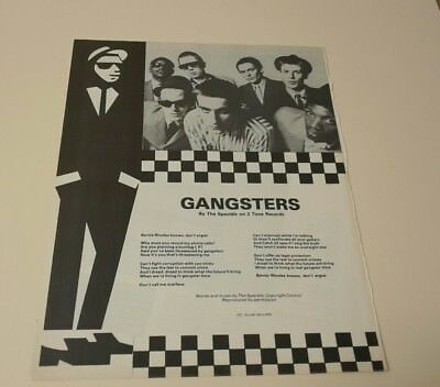 The Specials - Gangsters - Lyric Sheet - Smash Hits