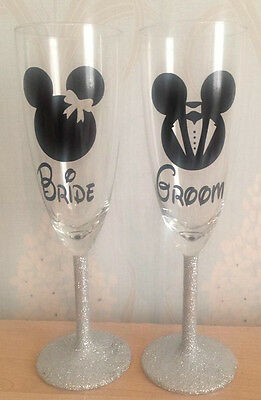 Mickey and Minnie Bride and groom champagne glasses
