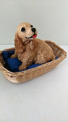 """ADORABLE  1985 """"Whiskers"""" COCKER SPANIEL Dog in BASKET Figurine by Martha Carey"""
